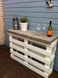 wooden pallet furniture. Narrow Wooden Counter With A Stone Surface Pallet Furniture