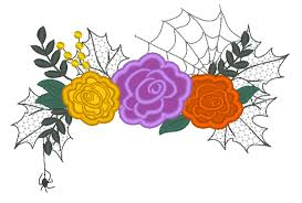 Halloween Applique Machine Embroidery Designs Halloween Spider Roses Crown Bouquet Shabby Chick Roses