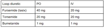 Loop Diuretic Po Iv Conversions Furosemide 40 Mg Po