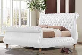 time living swan white 6ft super kingsize genuine leather bed frame