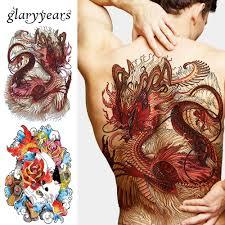 1 List Velký Velký Plný Zadní Hrudi Tetování Nálepka Vlk Tygr Drak