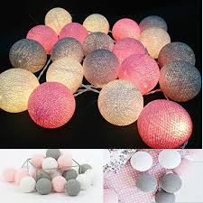 Weiß Grau Rosa 4 Mt Batteriebetriebene Led Cotton Ball