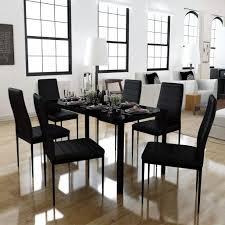 Details Zu 7tlg Esstisch Set Esstischgruppe Esszimmermöbel Sitz Stühle Schwarz Und Weiß