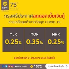 กรุงศรีปรับลดอัตราดอกเบี้ยเงินกู้ MLR, MOR และ MRR มีผล 21 พ.ค.นี้