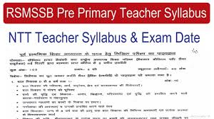 Teacher Syllabus Rsmssb Pre Primary Teacher Syllabus 2018 Ntt Nursery Teacher 2018