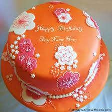 orange birthday cake with name edit