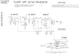 fender amp schematics fender champ aa764 schematic
