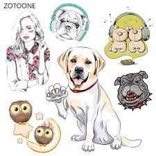 ZOTOONE Stripes <b>Patches</b> Set <b>Iron on Transfer</b> Cute Dog <b>Cat Patch</b> ...