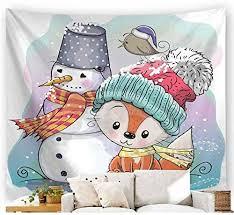 CJNDMX <b>Cartoon Christmas Snowman Pattern</b> Wall Hanging ...