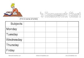 Homework Chart For Parents Kids Homework Charts