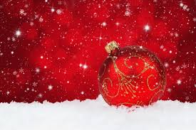Red Christmas Snowy Background with Christmas Ball | Gallery ...