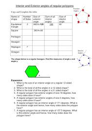 Interior And Exterior Angles Of Polygons Worksheet ...