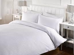 hotel satin stripe duvet set white ponden homes