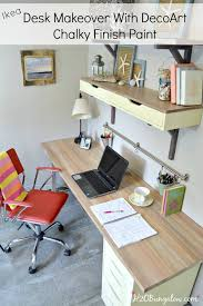 ikea desk makeover with faux wood grain top using decoart chalky finish paint h2obungalow