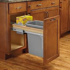 68 types usual tilt pull out kitchen trash can cabinet solid brown cabinets storage metal half rounded handling grey drawers placing upper wooden flooring