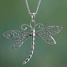 dazzling dragonfly sterling silver dragonfly pendant necklace from india