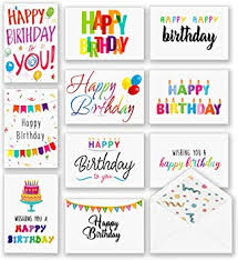 Customize classic amazon gift cards with your own images or logo; Amazon Com 100 Happy Birthday Cards Bulk Large Assorted Greeting Notes With Envelopes And Stickers 10 Unique Designs 5x7 Inch Thick Card Stock Box Set Blank Inside Office Products