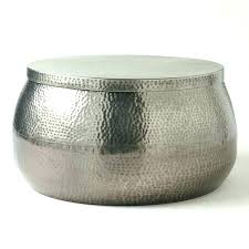 silver drum coffee table round