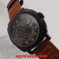 <b>44mm parnis black dial</b> PVD case Sapphire Glass automatic military ...