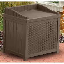 suncastresin wicker gallon deck box patio storage with seat