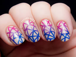 Handpainted Geometric Gradient Facets | Chalkboard Nails | Nail ...