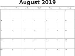 Printable August 2019 Calendar Pdf Free Template
