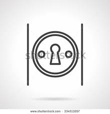 Classic Keyhole In Round Frame On Door Knob Security Access Password Symbol