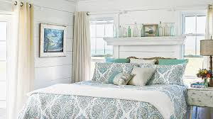 white bedroom with blue accents.  Bedroom A Blueandgreen Patterned Duvet And Accent Pillows Add A Lively Touch To For White Bedroom With Blue Accents D