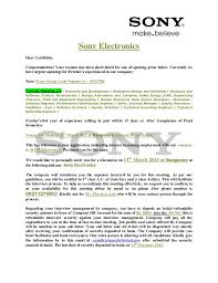 Sony ElectronicsDear Candidate,Congratulations! Your resume has been  short-listed for one of ...