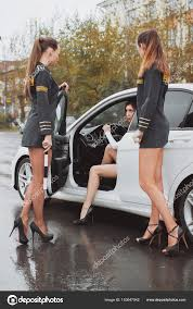 License 3kstudio Stops Young Beautiful — Car For © Checking Driver Photo Stock 153647042 Woman Police