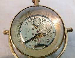 black marble base brass vintage desk clock by antikcart back