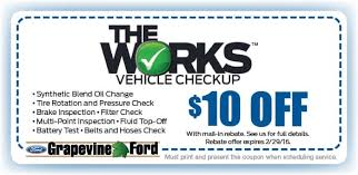 ford works the works grapevine ford service coupon dallas fort worth tx