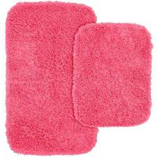 fabulous pink bath rugs jazz pink in x in washable bathroom 2 piece rug set pink