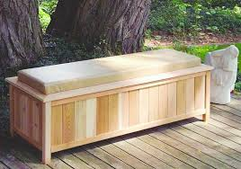 large cedar storage bench with cushion top 2054 outdoor