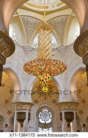 interior architecture with chandelier in the sheikh zayed grand mosque in abu dhabi uae