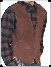 made of boar suede leather this cowboy vest has a 4 snap front with 2 pockets and satin backing pictured in black made by scully to enlarge image