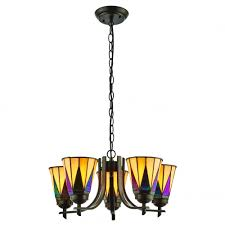 dark star art deco 5 arm ceiling light with up facing tiffany glass shades