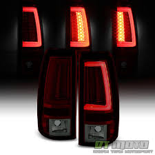2003 2004 2005 2006 Chevy Silverado Red Smoke LED Tube Tail Lights ...