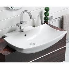 bathroom sink cerastyle 074800 u curved rectangular white ceramic wall mounted or semi