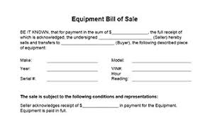 Of Word Bill In Form Equipment Sale And Pdf