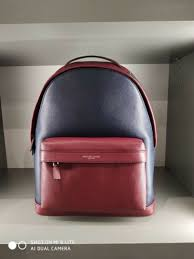michael kors mens large russel leather backpack navy red rouge rrp 390 00