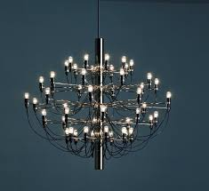 new unused flos sarfatti 50 chrome suspension light chandelier with bulbs