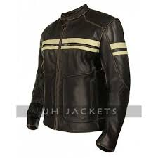 cafe racer men leather brown jacket