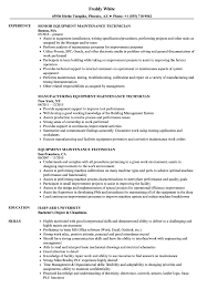 Sample Resume For Maintenance Technician Equipment Maintenance Technician Resume Samples Velvet Jobs 11
