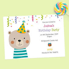 Children Birthday Invitations Kids Birthday Invitations Fun Party Bear