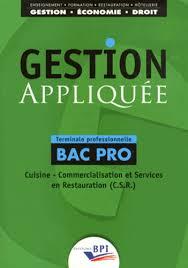 Gestion Appliquée Tle Bac Pro Cuisine Christiane Balanger