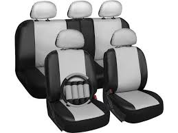 oxgord premium faux leather car seat cover set white