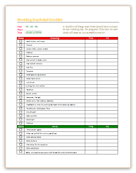 bridal checklist wedding day checklist template for bridal dotxes