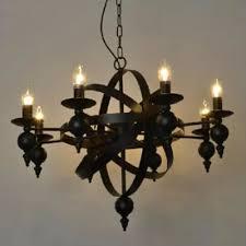 industrial vintage 8 light chandelier 30 w with metal cage frame black