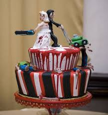 10 coolest zombie wedding cakes oddee Zombie Wedding Decorations the lawnmower is a nice touch zombie wedding supplies